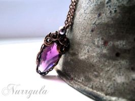 Purple Swarovski crystal Copper necklace, romantic by nurrgula