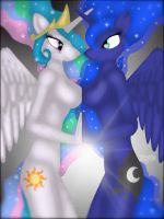 Luna And Celestia by SquareSausage