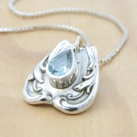 Spoon Pendant w/ Teardrop Blue Topaz by metalsmitten
