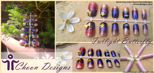 Nails: Twilight Butterfly by ChoonDesigns