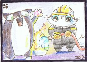 Funny cat is a fireman ACEO by KingZoidLord