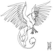 Akhor The griffin -lineart- by DeerDandy