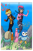 You are challenged by Divers Dawn and Yellow! by BlueHedgehog25