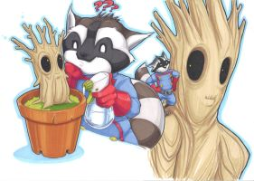 raccoon and plant by prisonsuit-rabbitman