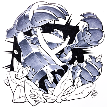 Inktober Day 23 - Mega Metagross by Orangetavi