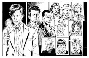 The Eleven Doctors line art by ShawnVanBriesen