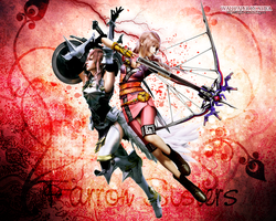 Farron Sisters FFXIII-2 wallpaper by ladylucienne