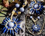 Blue Sun Rising Stone/Macrame Necklace by BellyLaughBeads