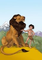 Lion and little Tarzan by Aldagon