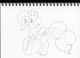 Body Study - Graphite Lineart - Pinkie Pie by Cloudyskieswrites