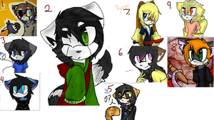 Sonic adoptable batch #2 Open 6 and 9 left by KitKatHugz