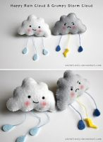 Puffy Cloud Brooches by whitefrosty