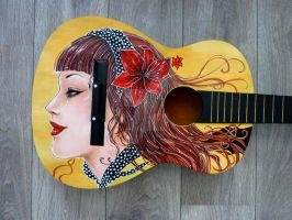 Pin up girl IN PROGRESS guitar paint by Hollow-Moon-Art