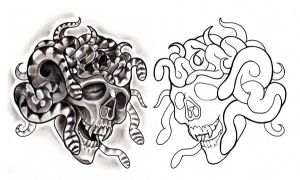 Medusa Skull and Line Art by johnnyjinx