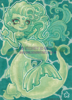 Emerald Mermaid ACEO by shidonii