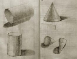 Academic drawing training - primitives by Pumais