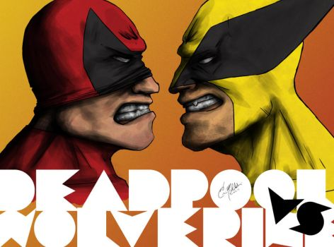 Deadpool vs Wolverine by flamingzigzag