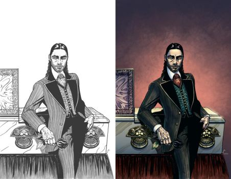 Fashion Beast coloring work (Before - After) by PortalComic