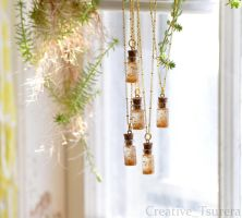 Golden Fortuna Fairy Bottle Necklace by Tsurera