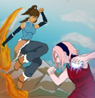 Korra Vs Sakura by shelbicg