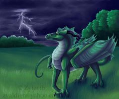 Lightning Over Green by Zyleeth