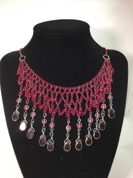 Pink mesh chain necklace by alchemymeg