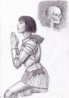 Joan of Ark kneeling sketch. by dashinvaine