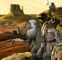 Baboons Hunting Party by Blackyinkin