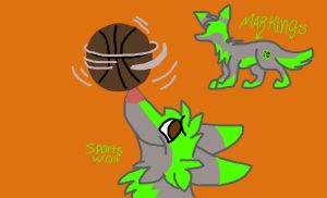 Free sports wolf adoptable!!! by jadewolf34