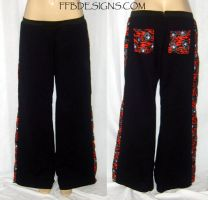 Black fleece skull pants by funkyfunnybone