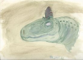 Cryolophosaurus Watercolor by CrazyAsylumClown