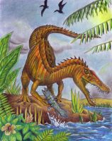 Suchomimus with Coelacanth by EWilloughby