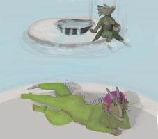 Bathing Drakainai by Spukitu