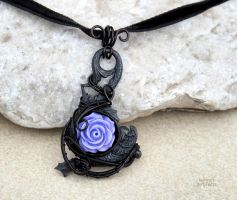 goth wire wrapped pendant with purple rose by IanirasArtifacts