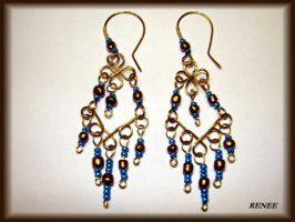 Bronze-turquoise earring by jasmin7