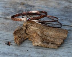 Copper Bangles with Garnet by DreamingDragonDesign