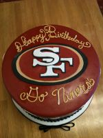 Niners Cake from above by Spudnuts
