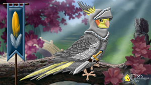 The Cockatiel Knight (colour) by FlightDesigns
