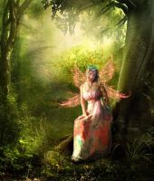 fairy in forest by saramira