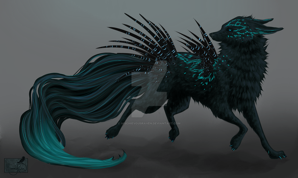 Black Ice Quill Dog Design CLOSED! by MischievousRaven