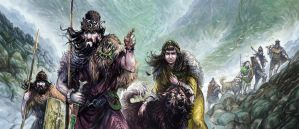 Hillmen and Wolfdogs by Merlkir