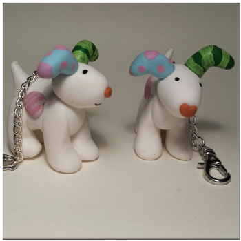 Snow dog charms by polymerpets