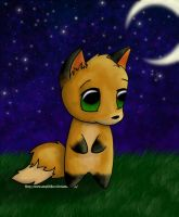 Fox in the moonlight by Amphithere
