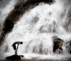 Waterfall with People by H4henry