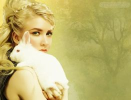 Woman and bunny... by MagicalPictureMaker