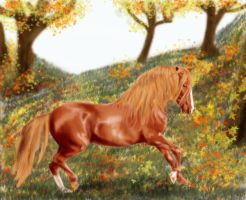 horse at fall by CrazyScarlet