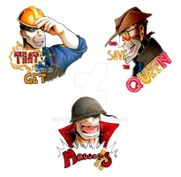 TF2 stickers - Engineer Sniper and Soldier by Papercutzz