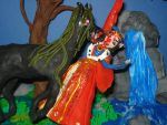 The Kelpie attacks the Queen (claymation) by Xiakeyra