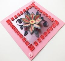 quilling card tender flower by othewhitewizard