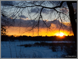 Sunset with Snow Martin's Pond by Mogrianne